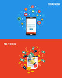 Icons for pay per click and social media. Flat style. Vector Stock Photography