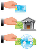 Icons of payment ways for shopping online Stock Images