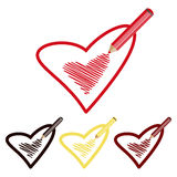 Icons pencil and heart Royalty Free Stock Photos