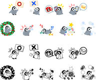 Icons of penguin babies Stock Photo