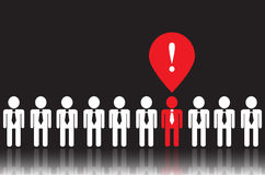 Icons of people and business ideas. White icons people in ties on a black background. One of people  has a bright idea. it is red Stock Images