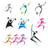 Icons of people in different sports. Silhouettes figures of athletes popular sports Stock Images