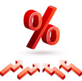 Icons of percent and arrows Royalty Free Stock Image