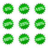 Icons with percent. Set of icons with percent for your design Stock Photos
