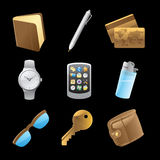 Icons for personal belongings Stock Photos