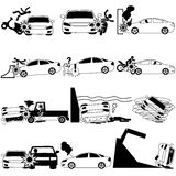 Icons of personal car accident Royalty Free Stock Photo