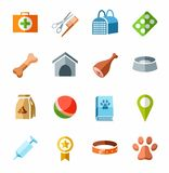 Icons pet supplies, colored. Royalty Free Stock Photos