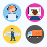Icons. Phases of printing production. CMYK. Vector illustration Stock Photography