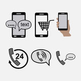 Icons phones, communications, incoming outgoing calls Stock Photography