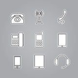 Icons phones and telecommunication devices Royalty Free Stock Images