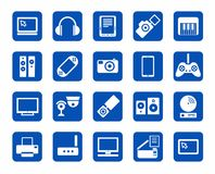 Icons, photo & video equipment, audio equipment, blue background. Stock Image