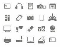 Icons, photo & video equipment, audio equipment, monochrome, white background. Royalty Free Stock Photo