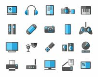 Icons photo and video equipment, non-ferrous, grey, blue. Colored flat icons photo and video equipment, audio equipment and computers. Grey and blue color on a Royalty Free Stock Photo