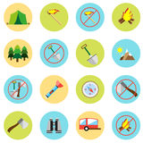 Icons picnic, rest in the forest in a flat style. Vector image on a round colored background. Element of design. Interface Stock Photography