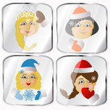 Icons, pictures, pendents about four Mrs. Santa Claus  on a gray background. Icons, pictures, pendents about four Mrs. Santa Claus a  on a gray background happy Stock Photo