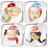 Icons, pictures, pendents about four Mrs. Santa Claus  on a gray background. Icons, pictures, pendents about four Mrs. Santa Claus a  on a gray background happy Royalty Free Stock Image