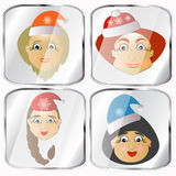 Icons, pictures, pendents about four Mrs. Santa Claus vector on a gray background. Icons, pictures, pendents about four Mrs. Santa Claus a vector on a gray Stock Photography