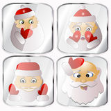 Icons, pictures, pendents about four Santa Claus  on a gray background. Icons, pictures, pendents about four Santa Claus a  on a gray background happy holiday Stock Photos