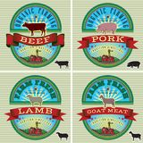 Icons pig, cow, sheep, goat Stock Images