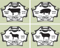 Icons pig, cow, sheep, goat. Icons on vintage background pig, cow, sheep, goat Royalty Free Stock Photo