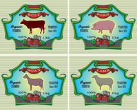 Icons pig, cow, sheep, goat Stock Photo