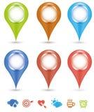 Icons pin mockup. Pin icons mockup,whit example user icons Stock Photos
