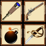 Icons pirate ammunition. Icons pirate accoutrements: swords, pistol, telescope and bomb stock illustration