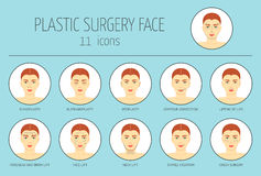 11 icons of plastic surgery face. Flat design. Vector Royalty Free Stock Photography