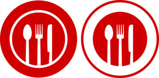 Icons with plate, fork, spoon, knife. Two icons with plate, fork, spoon, knife on red and white background stock illustration
