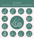 13 icons with play and running sports. Icons with sports games and jogging Royalty Free Stock Photos