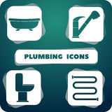 Icons with plumbing.  objects in the flat design. Vector Icons with plumbing.  objects in the flat design Stock Photos