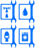 Icons for plumbing repair Royalty Free Stock Photo