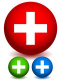 Icons with Plus Sign. Sign for Medical, First-aid, Health-Care c Stock Photos