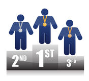 Icons on podium illustration Stock Photo