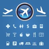 Icons and pointers for navigation in airport Stock Photos