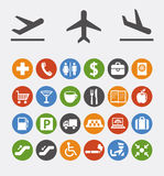 Icons and pointers for navigation in airport Royalty Free Stock Photo