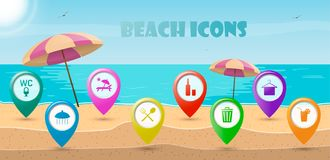 Icons pointers for relaxing on the sunny beach. Vector illustration stock illustration