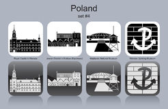 Icons of Poland. Landmarks of Poland. Set of monochrome icons. Editable vector illustration Royalty Free Stock Photos