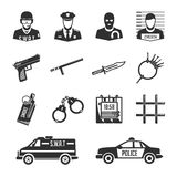 Icons police and thieves. Set of vector icons of police and criminals. Vector security image and offenders for use in your design projects Royalty Free Stock Image