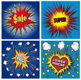 Icons in pop art style on the theme of sale price Royalty Free Stock Photo