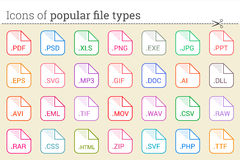 Icons of popular file types and files extensions. Icons of popular file types. Set of file types icons. Big pack of document, system, office, graphic, audio Royalty Free Stock Image
