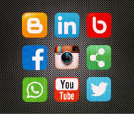 Icons popular social. Networking applications royalty free illustration