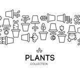 Icons of pot plants garden. Vector illustration Royalty Free Stock Image