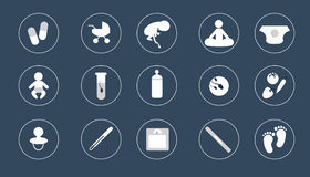 Icons pregnancy . design style . white on dark . Royalty Free Stock Images