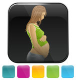 Icons with pregnant woman Royalty Free Stock Photography