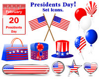 Icons for of the Presidents day. Stock Images