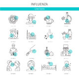 Icons preventing disease. Symptoms and treatment of influenza. Icons in a linear style for web graphics Stock Photo