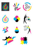 Icons_print_design. Several icons of printing for use on a company emblem. Vector illustration Royalty Free Stock Image