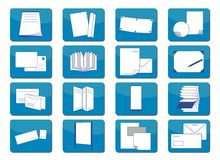 Icons printing material. Illustration of 16 different symbols with printing items Royalty Free Stock Images