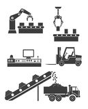 Icons production lines of the conveyor Royalty Free Stock Images